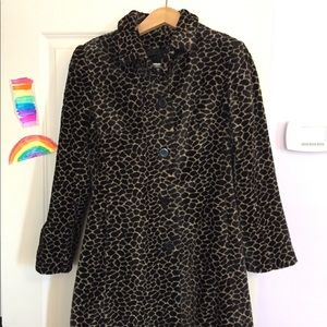 Faux fur animal print 3/4-length coat - Size S